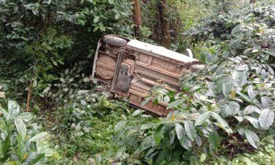 Tourist Car overturns near devaramane gudda Chikkamagaluru